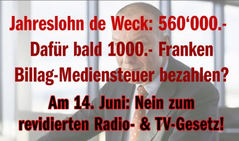 Überteuert, ungerecht und ein Fass ohne Boden: Am 14. Juni Nein zur neuen Billag-Mediensteuer!