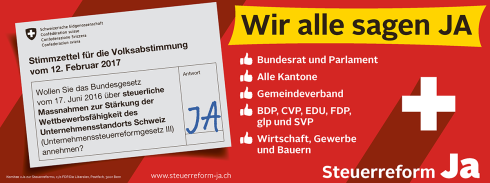 Eine breite Allianz setzt sich ein für eine erfolgreiche und zukunftsfähige Schweiz: Bundesrat und Parlament, alle Kantone inklusive der Finanz- und Volkswirtschaftsdirektoren, der Gemeindeverband, die Parteien BDP, CVP, EDU, FDP, glp und SVP sowie Wirtschaft, Gewerbe und die Bauern sagen JA zur Steuerreform.